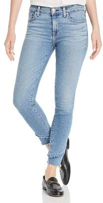 7 For All Mankind Staggered-Hem Ankle Skinny Jeans in Luxe Vintage Flora