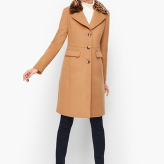 Talbots Fur-Trimmed Wool Coat