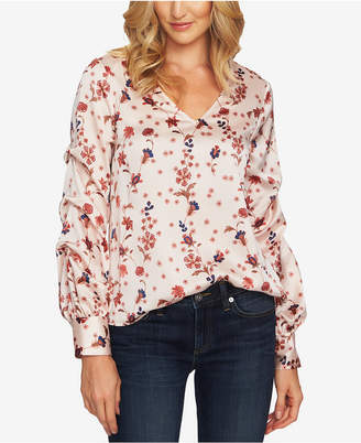 CeCe Printed Puff-Sleeve Blouse