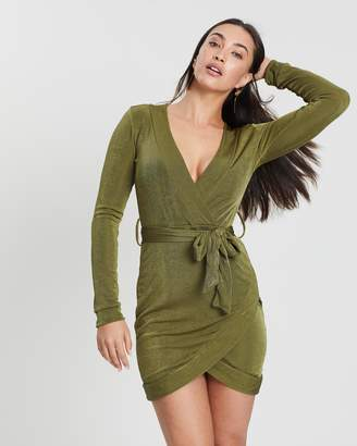 Missguided Belted Plunge Long Sleeve Midi Dress