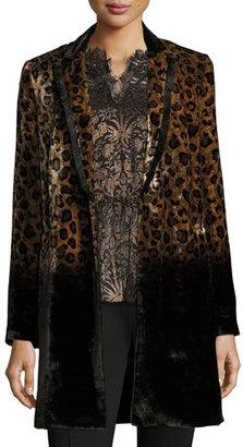 Elie Tahari Pam Leopard-Print Velvet Coat $598 thestylecure.com