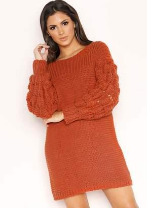 b39addbfd0 Missy Empire Missyempire Fern Rust Chunky Knit Jumper Dress