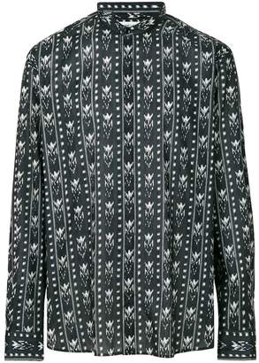 Saint Laurent band collar Ikat print shirt