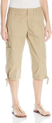 Calvin Klein Women's Woven Cargo Crop Pant with Zipper Closing