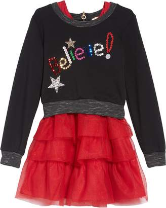 Truly Me Believe Sequin Applique Sweatshirt & Tulle Dress Set