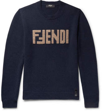 Fendi Slim-Fit Logo-Intarsia Cashmere Sweater