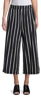 Eileen Fisher Cropped Wide-Leg Vertical Striped Pants
