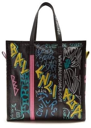 Balenciaga Bazar Shopper M Graffiti - Womens - Black Multi