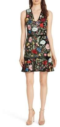 Alice + Olivia Peyton Embellished Velvet A-Line Dress