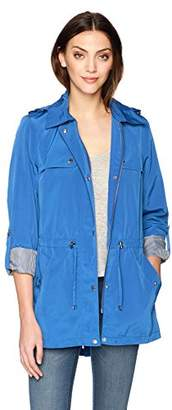 Tommy Hilfiger Women's Snap Front Hooded Rain Anorak