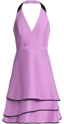 Halston Tiered Cotton And Silk-Blend Halterneck Dress