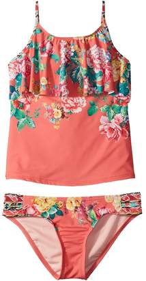 Hobie Kids Petal Pusher Hanky Tankini and Sash Side Hipster Set Girl's Swimwear Sets