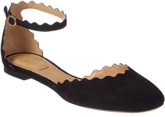 Chloé Lauren Scalloped Suede Ankle Strap Flat