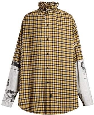 Balenciaga - Oversized Checked Brushed Cotton Shirt - Womens - Yellow Multi