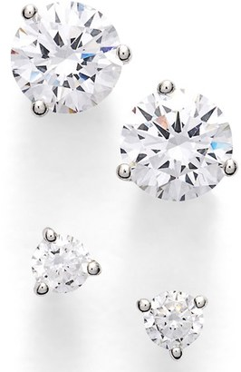 Women's Nordstrom Precious Metal Plated 0.50Ct Tw And 2Ct Tw Cubic Zirconia Stud Earrings (Set Of 2) $68 thestylecure.com