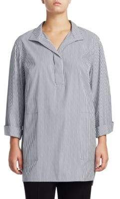Lafayette 148 New York Lafayette 148 New York, Plus Size Plus Freeport Stripe Shirting Tunic