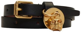 Alexander McQueen Black & Gold Skull Double Wrap Bracelet $195 thestylecure.com
