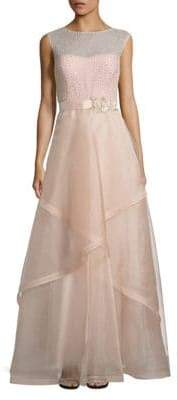 Teri Jon Embellished Tulle Ball Gown