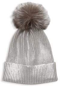 4a68cc7474c389 Adrienne Landau Fox Fur Pom-Pom Metallic Beanie