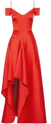 Badgley Mischka Cold-Shoulder Asymmetric Satin-Faille Gown
