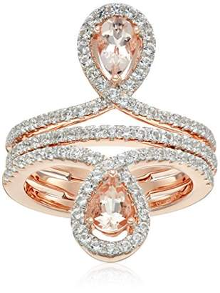 Rose Gold-plated Silver Morganite And Created White Sapphire Inverted Pair Halo Ring