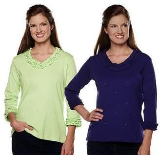 Factory Quacker Sparkle & Shine Set of 2 Lettuce Edge T-Shirts