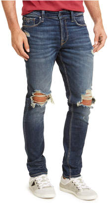 GUESS Men Slim Fit Tapered Busted Knee Morocco Jeans