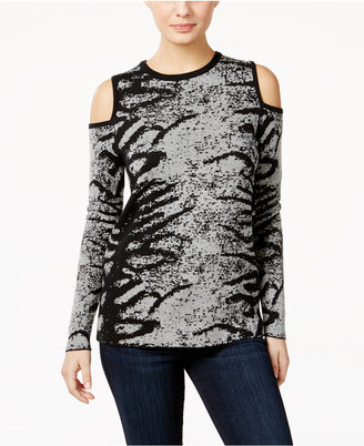 Calvin Klein Jeans Patterned Cold-Shoulder Sweater $69.50 thestylecure.com