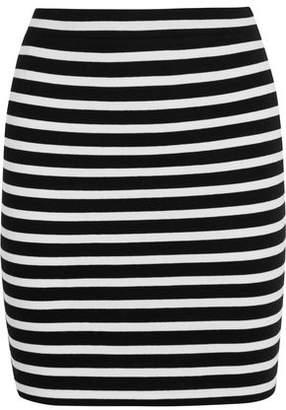 Alexander Wang Striped Stretch-Cotton Ponte Mini Skirt