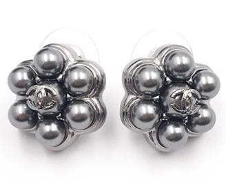 Chanel Grey Pearl Earrings