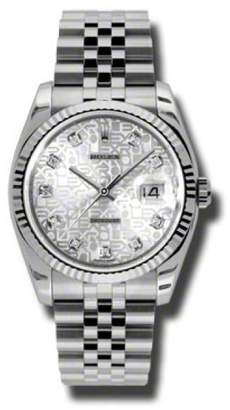 Rolex Datejust Silver Jubilee Diamond Dial Jubilee Bracelet 18K White Gold Fluted Bezel Men's Watch Watch