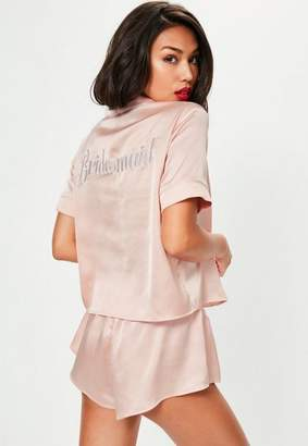 95935281347f Missguided Pink Satin Bridesmaid Piped Short Pyjama Set