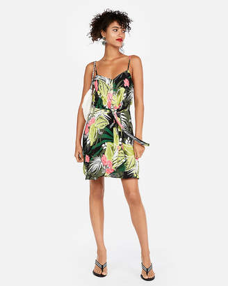 Express Floral Sleeveless Knot Front Fit And Flare Dress