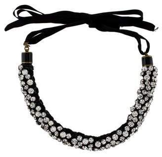Isabel Marant Crystal & Leather Collar Necklace