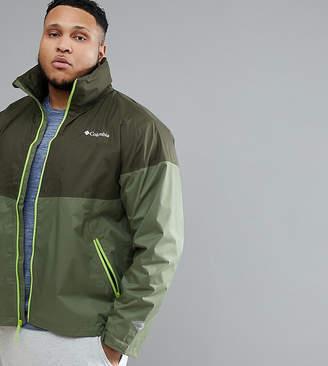 Columbia Plus Size Inner Limits Waterproof Jacket Concealable Hood in Green