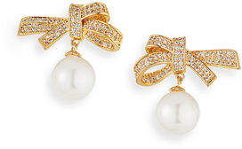 Fallon Pave Bow & Pearly Drop Earrings