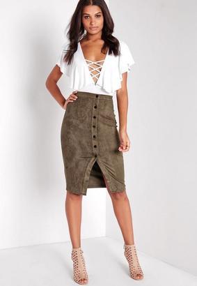 Khaki Button Through Faux Suede Midi Skirt $42 thestylecure.com