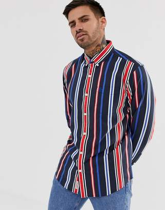 Original Penguin striped shirt with button down collar in red white and blue
