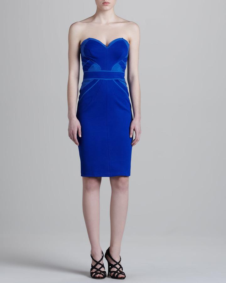 Zac Posen Jersey Corset Dress, Cobalt