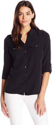 Notations Women's Long Sleeve Rolled to 3/4 P Collar Shirt