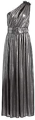 RetrofÃate Women's Andrea Belted One-Shoulder Metallic Maxi Dress