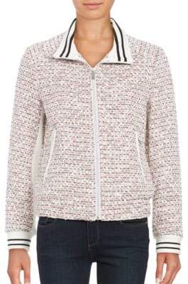 French Connection Tweed Zip Front Jacket