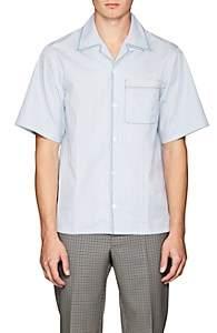 Prada Men's Micro-Checked Cotton Poplin Camp Shirt - Lt. Blue