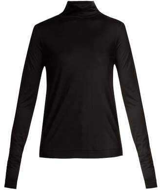 Joseph Silk Jersey Roll Neck Sweater - Womens - Black