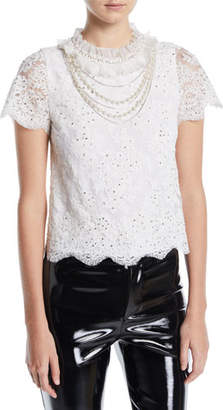 Alice + Olivia Sarina Embellished Short-Sleeve Lace Top