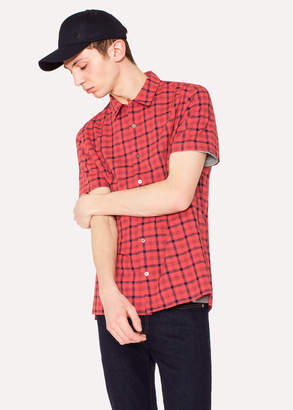 Paul Smith Men's Classic-Fit Red And Navy Check Cotton Short-Sleeve Shirt