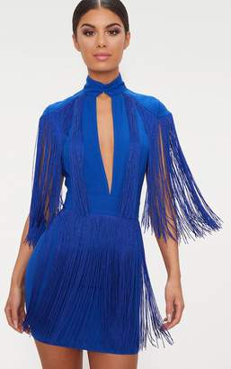 PrettyLittleThing Cobalt Tassel Cap Sleeve Plunge Bodycon Dress