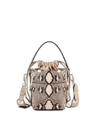 Chloé Roy Mini Python-Print Bucket Bag