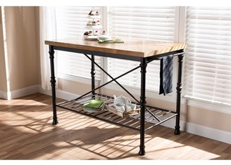 Baxton Studio Perin Vintage Rustic Industrial Style Wood and Bronze-Finished Steel Multipurpose Kitchen Island Table