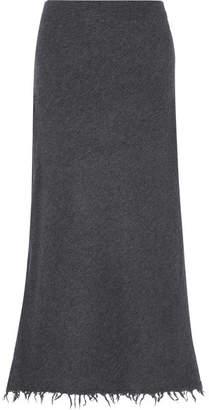 Jil Sander Frayed Wool And Cashmere-blend Midi Skirt - Gray